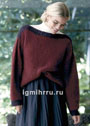 Винно-красный пуловер с вырезом-лодочкой. Спицы
