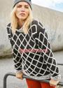Двухцветный пуловер с решетчатым узором. Спицы