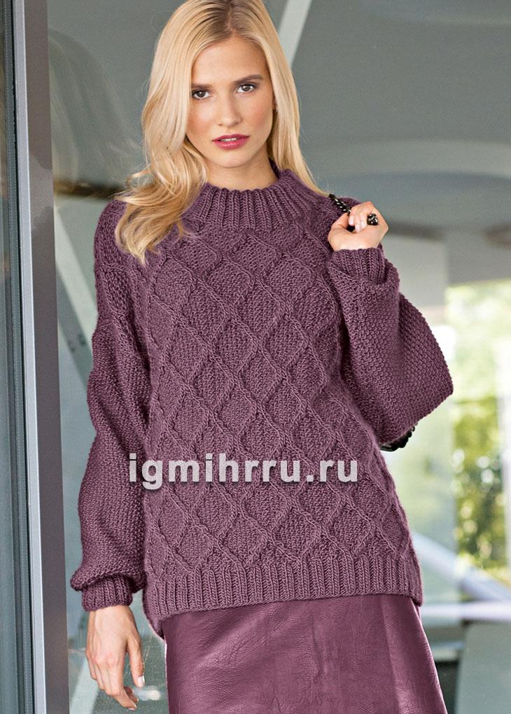 Пуловер спицами с узором из ромбов