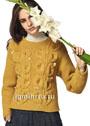 Желтый пуловер с крупными рельефными листьями. Спицы