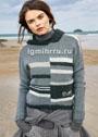 Теплый пуловер в серых тонах с полосками. Спицы