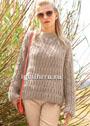Шерстяной пуловер с узорами из кос и резинки. Спицы