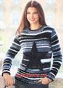Полосатый пуловер с большой вывязанной звездой. Спицы