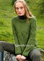 Зеленый пуловер с круглой кокеткой и косами. Спицы
