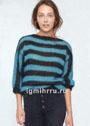 Черно-бирюзовый мохеровый пуловер в полоску. Спицы