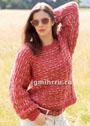Теплый пуловер в красных тонах, с узором из снятых петель. Спицы