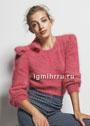 Розовый пушистый пуловер с бантом. Спицы