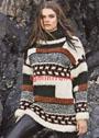 Эффектный теплый пуловер с коллажем цветов и узоров. Спицы