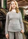 Серый кашемировый пуловер, связанный полупатентным узором. Спицы