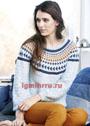 Пуловер со структурным узором и жаккардовой кокеткой. Спицы