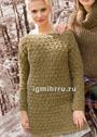 Удлиненный шерстяной пуловер со сплошным узором из снятых петель. Спицы