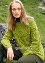 Зеленый рельефный пуловер с круглой кокеткой. Спицы