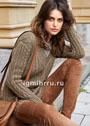 Серо-коричневый рельефный пуловер с V-образным вырезом. Спицы