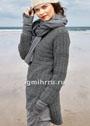 Теплый серый пуловер с рельефным узором из кос. Спицы