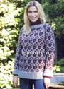 Яркий теплый пуловер с леопардовым узором. Спицы