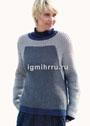 Повседневный трехцветный пуловер со структурным узором. Спицы
