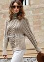 Бесшовный серо-бежевый пуловер с рельефным декором. Спицы