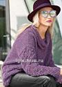 Пуловер ежевичного цвета с ажурным узором из кос. Спицы