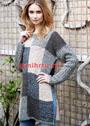 Пуловер-пончо из прямоугольников, связанных структурным узором. Спицы