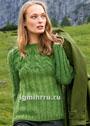 Зеленый шерстяной пуловер с кокеткой из кос. Спицы