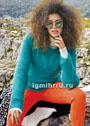 Пуловер простой вязки, из тонкой теплой пряжи насыщенного изумрудного цвета. Спицы