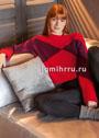 Красный кашемировый пуловер с бордовыми участками. Спицы