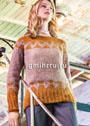 В норвежском стиле. Розово-оранжевый пуловер с жаккардовыми узорами. Спицы