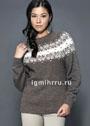 Коричневый шерстяной пуловер с жаккардовой кокеткой. Спицы