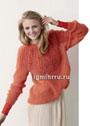 Оранжевый мохеровый пуловер с кокеткой из ажурных прошв. Спицы