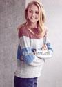 Теплый полосатый пуловер с ребристой кокеткой. Спицы