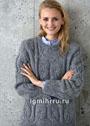 Серый теплый пуловер с растительным рельефным узором. Спицы