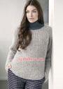 Теплый пуловер с фигурным полупатентным узором. Спицы