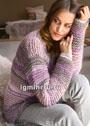 Полосатый пуловер крупной вязки. Спицы