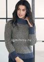 Шерстяной пуловер с мелким волнистым узором. Спицы