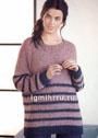 Удлиненный дымчато-розовый пуловер с синими полосами. Спицы