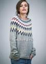 Теплый пуловер с зигзагообразным узором на кокетке. Спицы