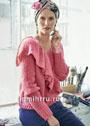 Классический розовый пуловер с большим воланом. Спицы