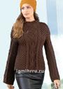 Шерстяной пуловер с косами и сотами и планками на плечах. Спицы