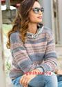 Шерстяной пуловер в пастельных тонах, с полосами жаккардовых узоров. Спицы