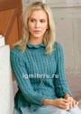 Нарядный зеленовато-голубой пуловер с декоративными элементами. Спицы