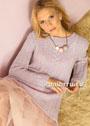 Удлиненный розовый пуловер с сочетанием узоров из кос. Спицы