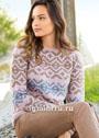 Женственный пуловер с двухцветным жаккардовым узором. Спицы