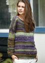 Пуловер в цветную рельефную полоску. Спицы