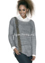 Серый пуловер с орнаментальной полосой из аранов. Спицы