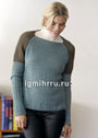 Двухцветный теплый пуловер со спущенными проймами. Спицы