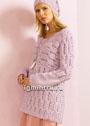 Розовый теплый пуловер со связанным поперек верхом. Спицы