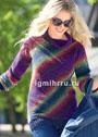 Пуловер в разноцветную диагональную полоску. Спицы