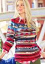 Разноцветный жаккардовый пуловер в полоску. Спицы