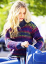 Теплый пуловер с разноцветными полосками. Спицы