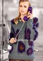 Серый пуловер с цветными пушистыми вставками. Спицы